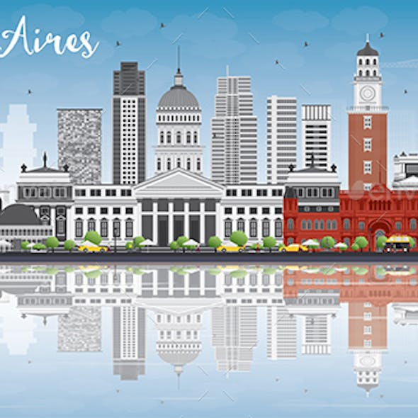 Buenos Aires Skyline with Color Landmarks