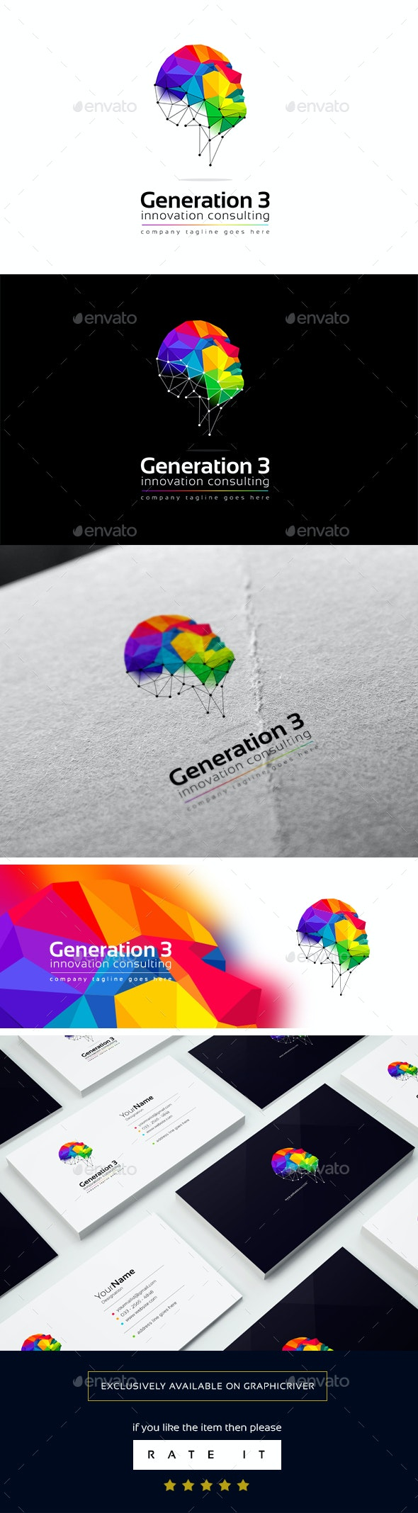 Generation 3 logo template - 3d Abstract