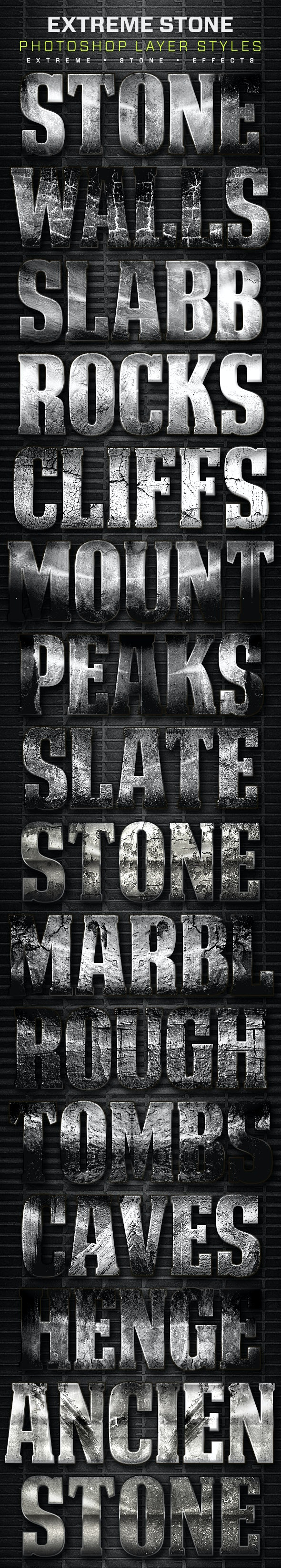 16 Extreme Stone Layer Styles Volume 5 - Text Effects Styles