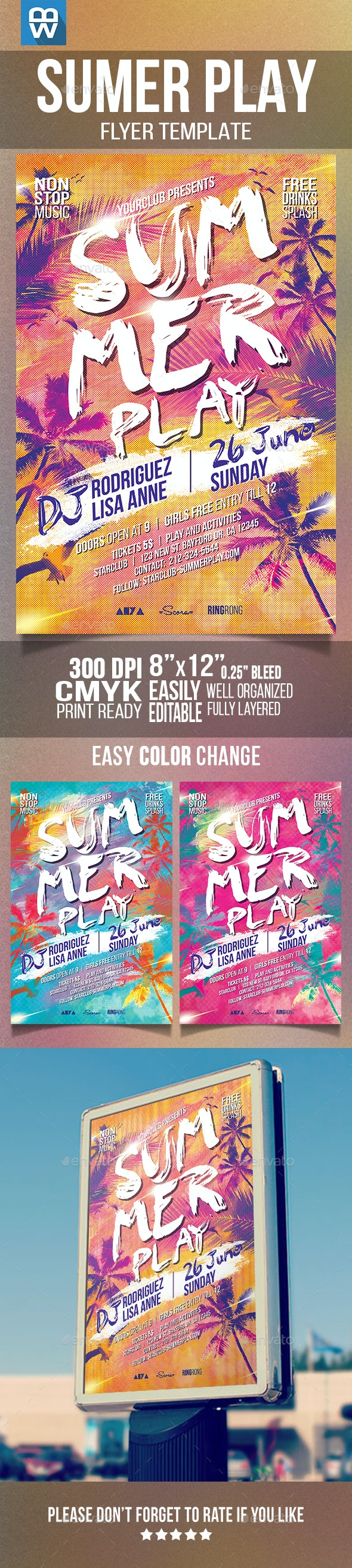 Summer Play Flyer Template - Clubs & Parties Events