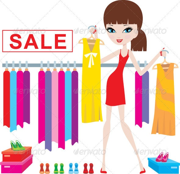 Young woman on clothes and footwear sale - Commercial / Shopping Conceptual