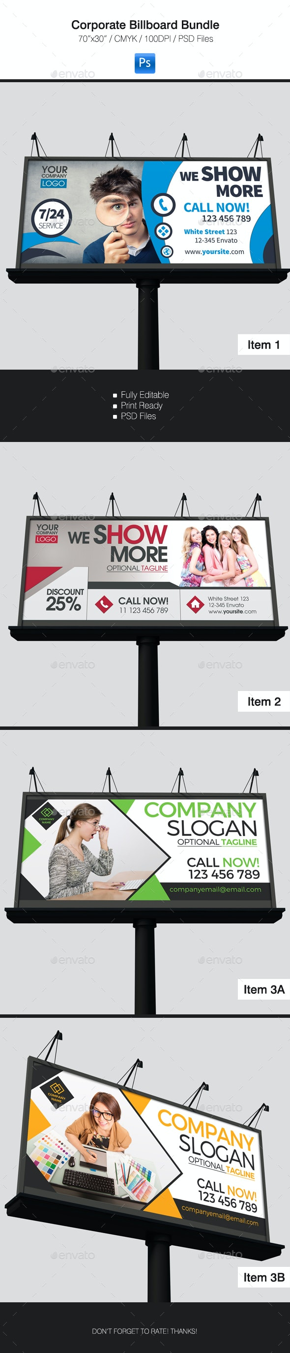 Corporate Billboard Bundle 3 in 1 - Signage Print Templates