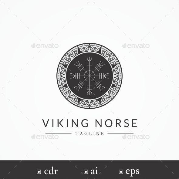 """Viking/Norse """"Helm of Awe"""" Symbol Logo Template"""