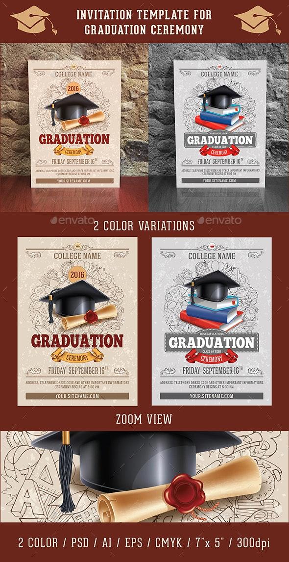 Graduation Ceremony Invitation Template - Invitations Cards & Invites