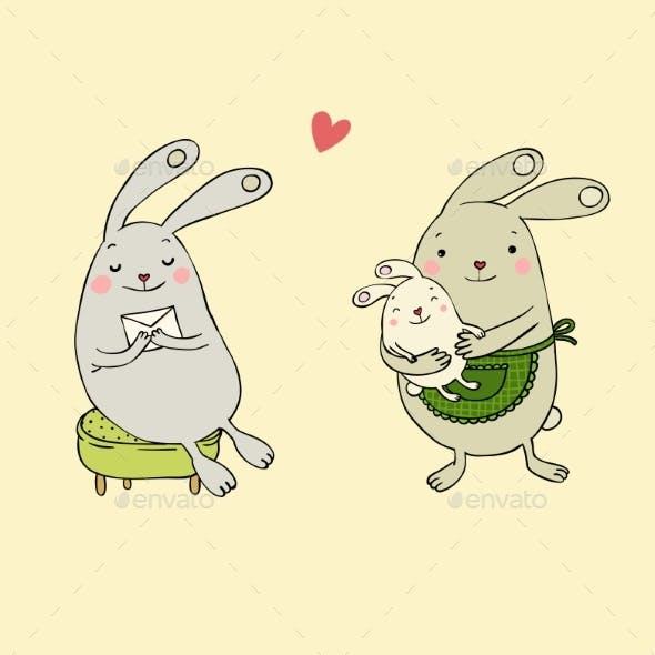 Bunnies with Letter and Baby