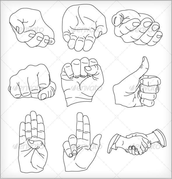 9 Vector Hands Illustrations - Characters Vectors