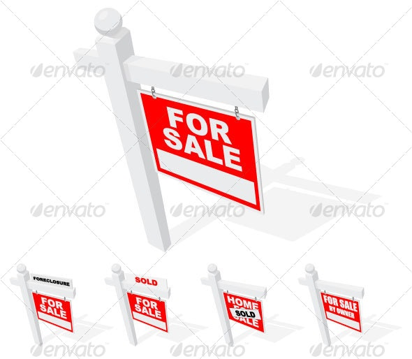 Top View of Real Estate Signs - Man-made Objects Objects