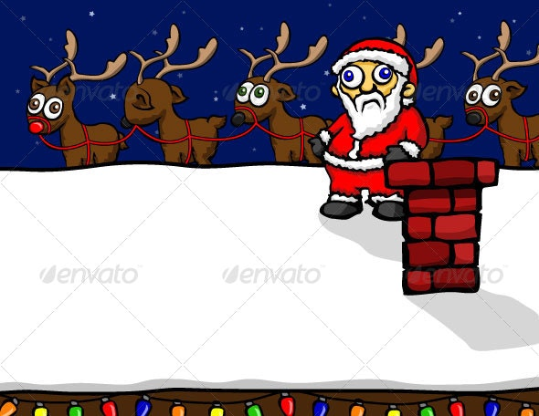 Santa and His Reindeer - Christmas Seasons/Holidays