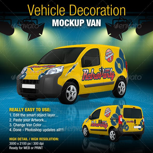 Vehicle Decoration Mock-Up Van