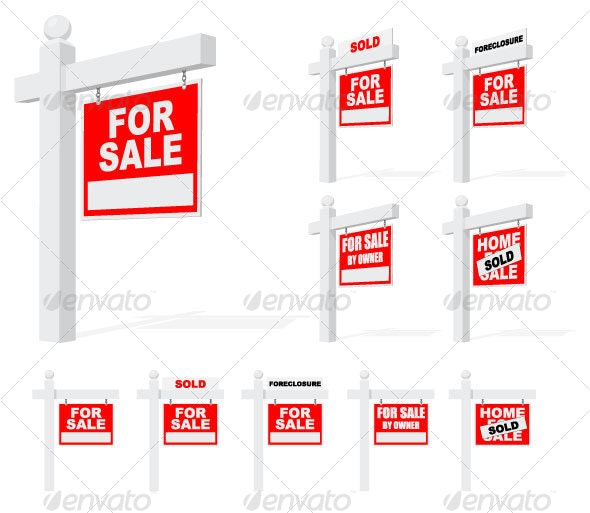 Real Estate Signs - Man-made Objects Objects
