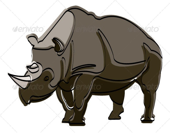 Endangered Black Rhino - Animals Characters