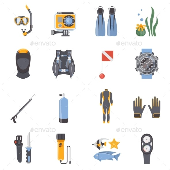 Diving and Snorkeling Flat Decorative Icons