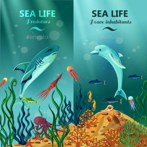 Sea Underwater Life Vertical Banners