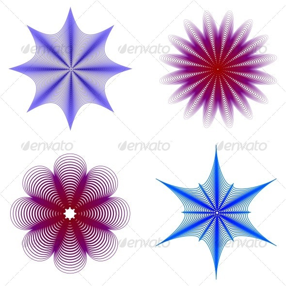 abstract floral silhouettes - Decorative Symbols Decorative