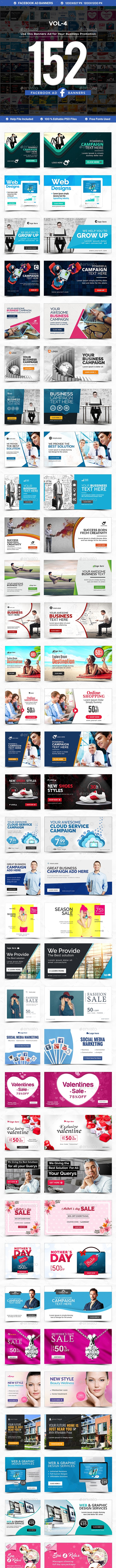 Facebook Newsfeed Ad Banners Vol-4 - 152 Banners - Miscellaneous Social Media
