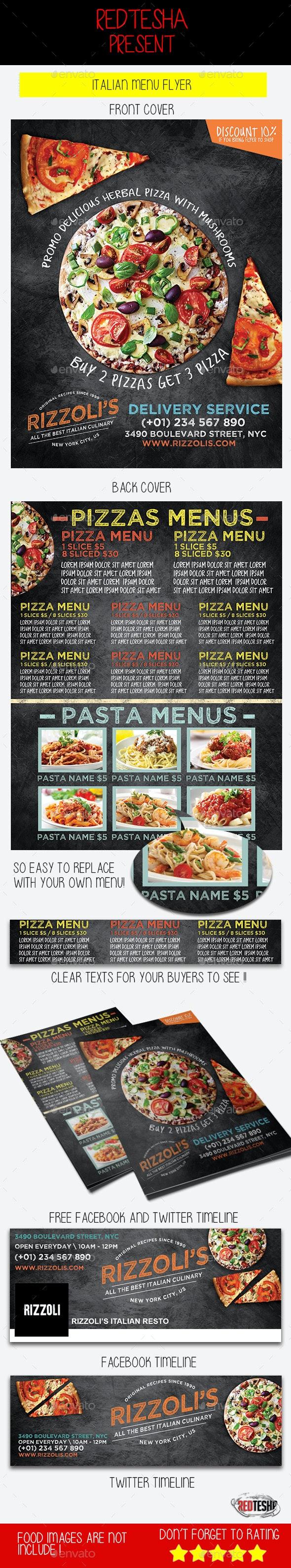 Italian Menu Flyer - Food Menus Print Templates
