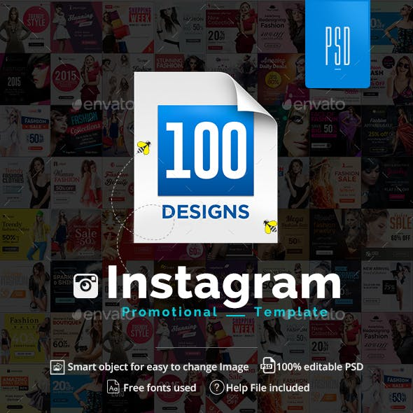 Instagram Ad Templates - 100 Banners