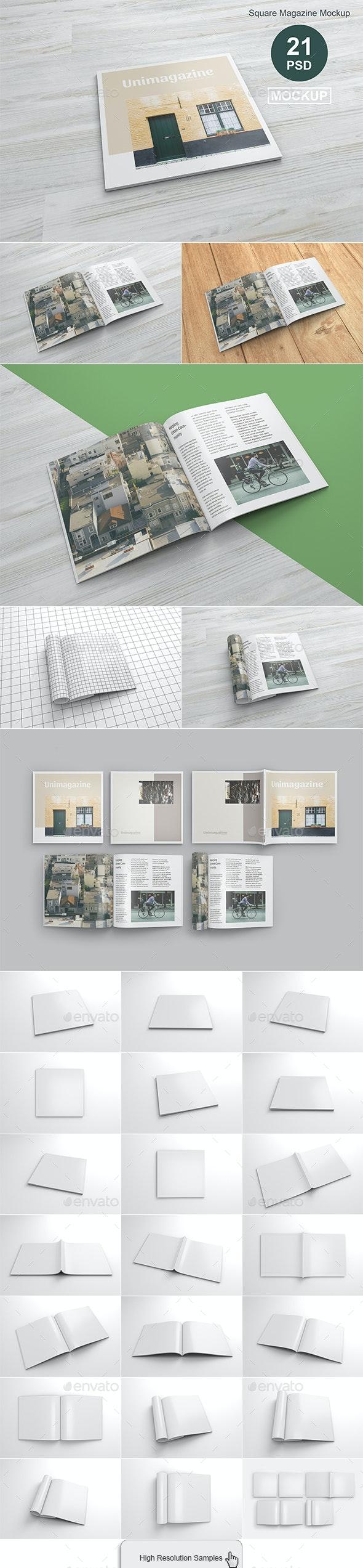 Square Magazine Mockup - Magazines Print