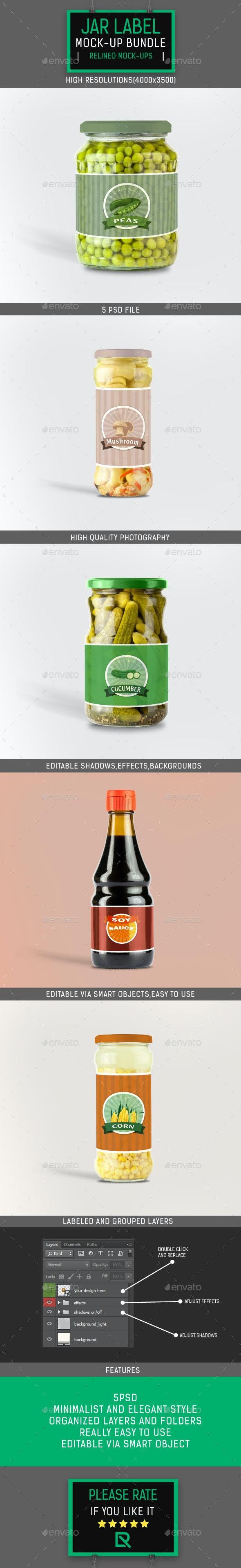 Jar Bottle Label Mock-up Bundle - Food and Drink Packaging