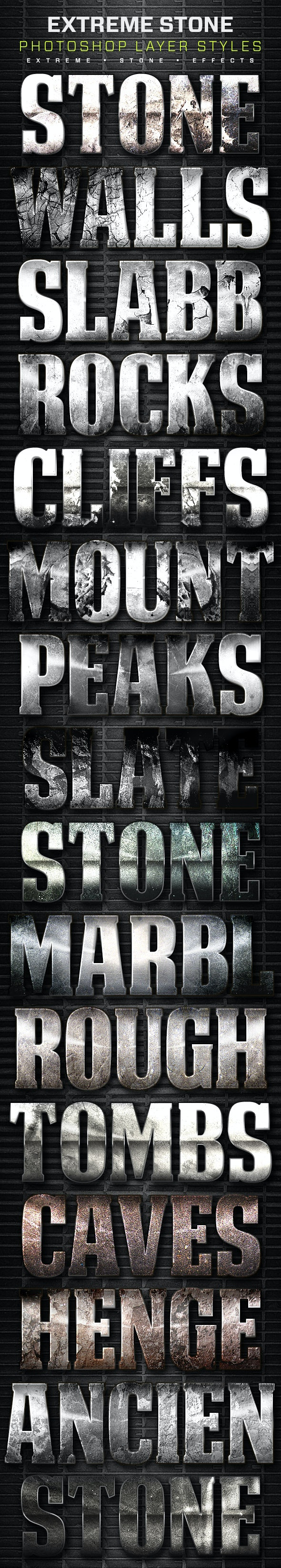 16 Extreme Stone Layer Styles Volume 8 - Text Effects Styles