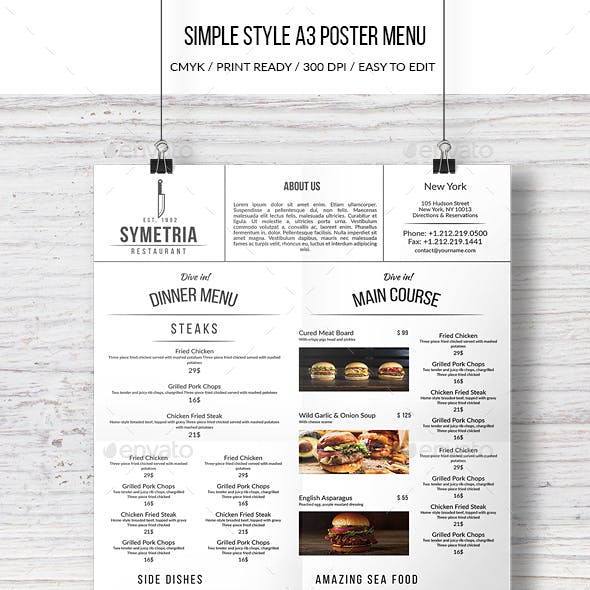 Simple Style A3 Poster Menu