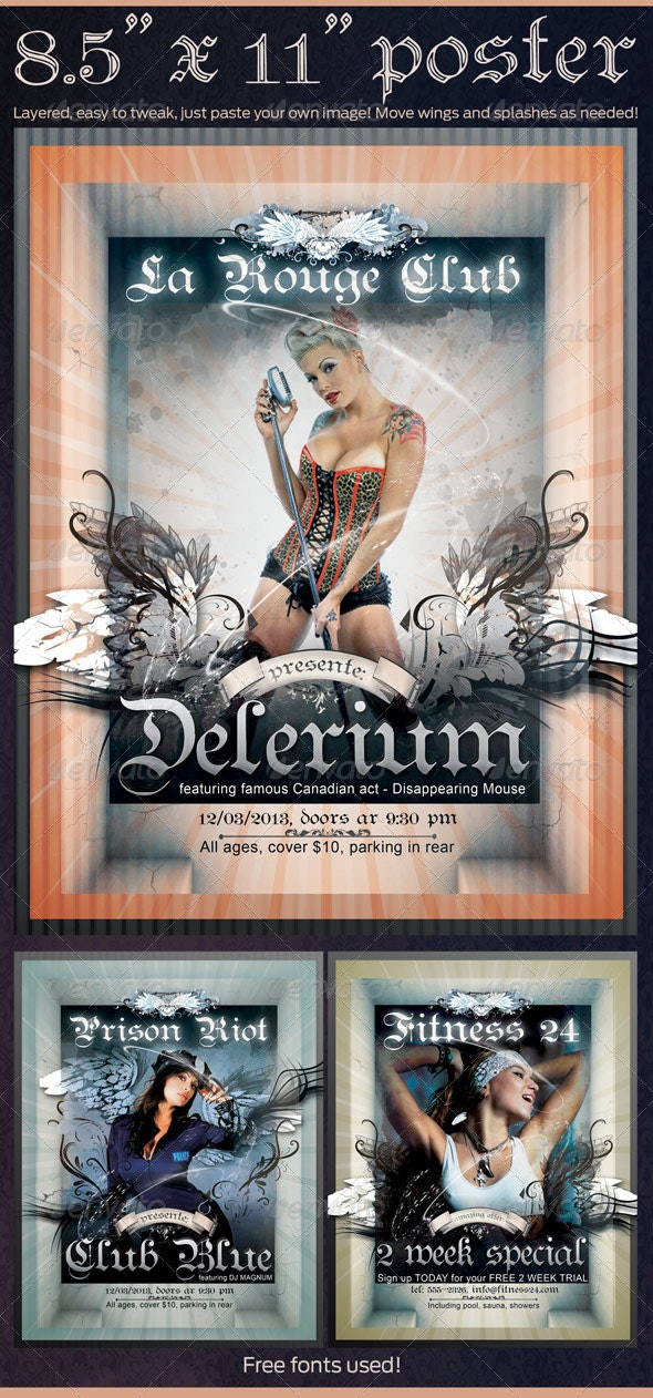 """Poster  """"Delerium"""" in 8.5""""x11"""" - Clubs & Parties Events"""