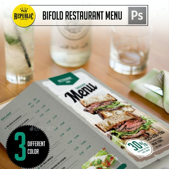 Bifold Clean Restaurant Menu