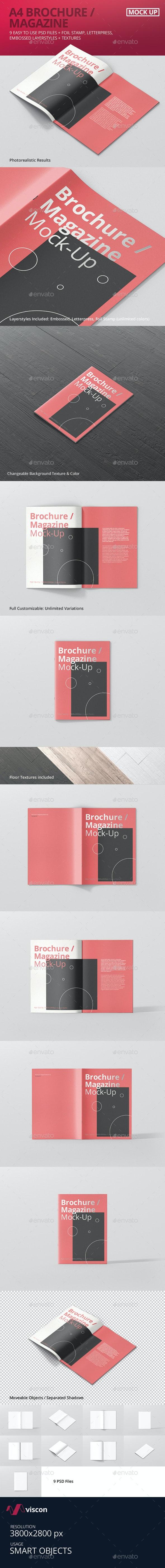A4 Brochure / Magazine Mock-Up - Magazines Print