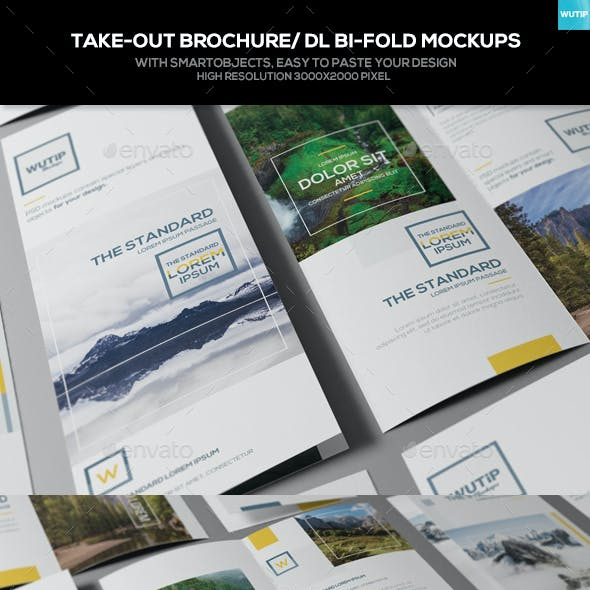 Take-out Brochure/ DL Bi-Fold Mockups