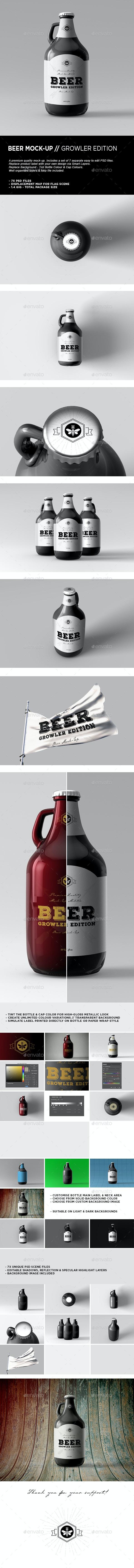 Beer Mock-Up   Growler Bottle Mock-Up - Food and Drink Packaging