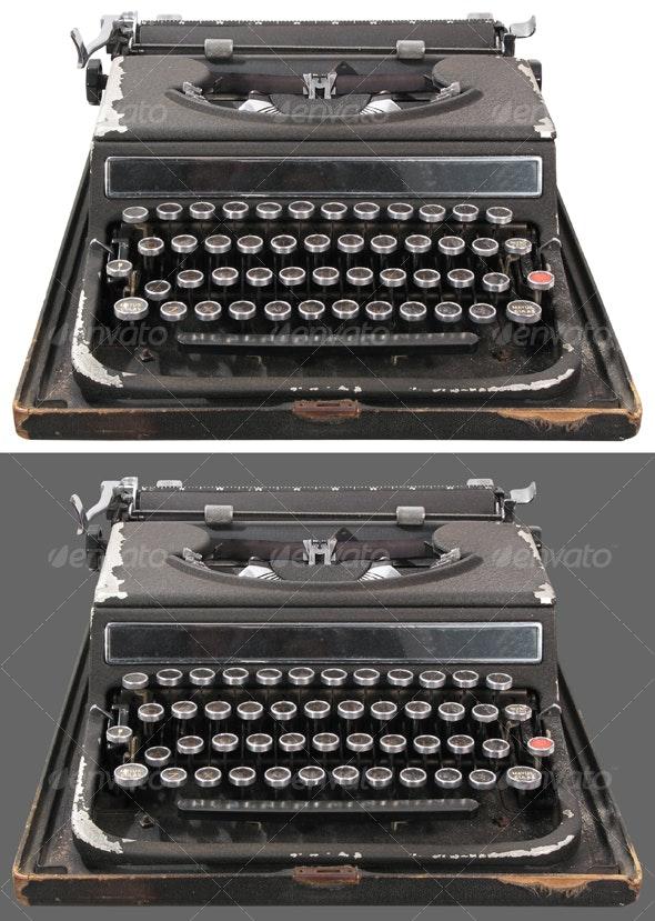 Antique typewriter front view
