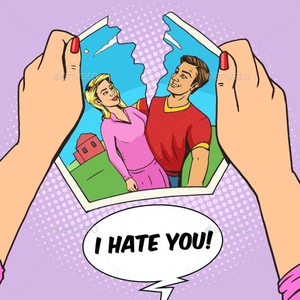 Hands Tear Photo of Couple Pop Art Vector