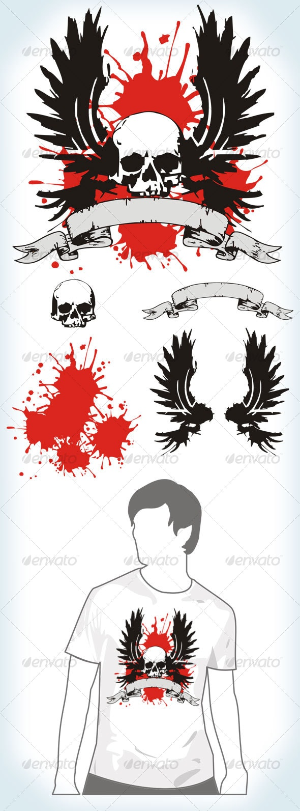 Winged skull - Decorative Vectors