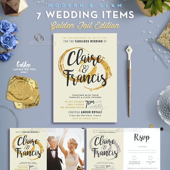 7 Golden Foil Items - Wedding Pack