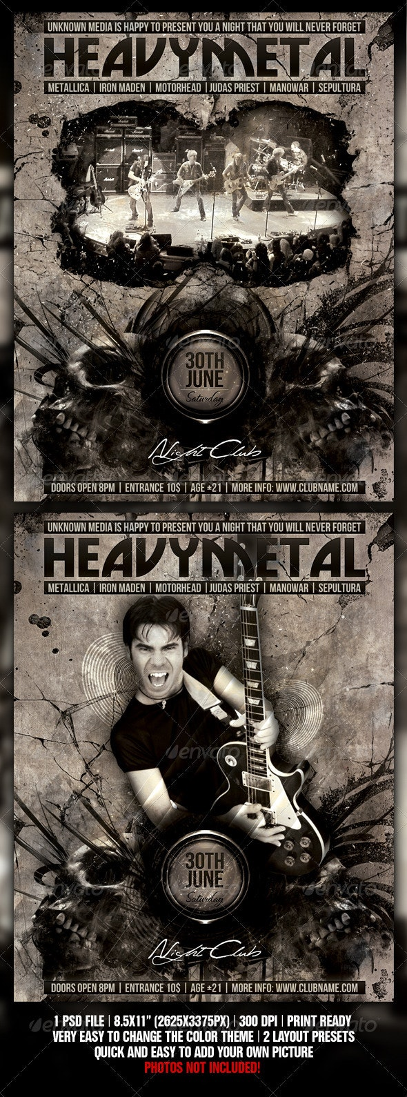 Heavy Metal Night Club Party / Concert Flyer - Concerts Events