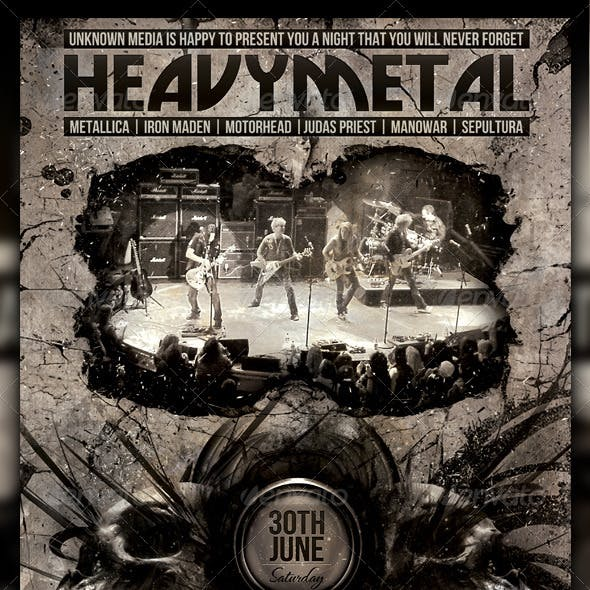 Heavy Metal Night Club Party / Concert Flyer