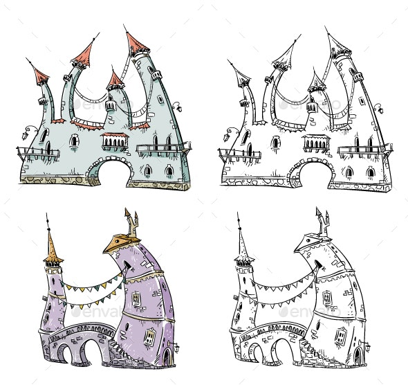 Fantasy Houses Illustration  - Buildings Objects
