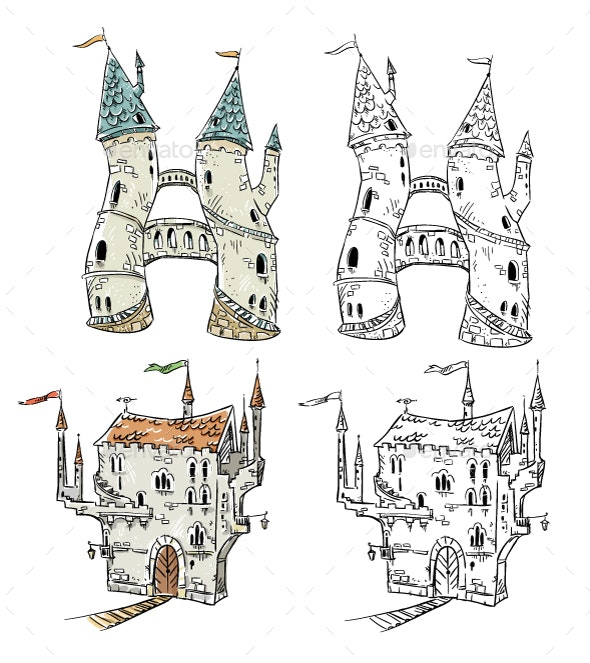Fantasy Castles Illustration  - Buildings Objects