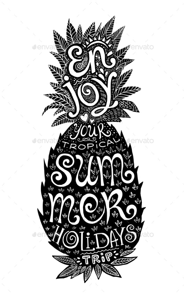 Hand Drawn Grunge Pineapple Silhouette - Tattoos Vectors