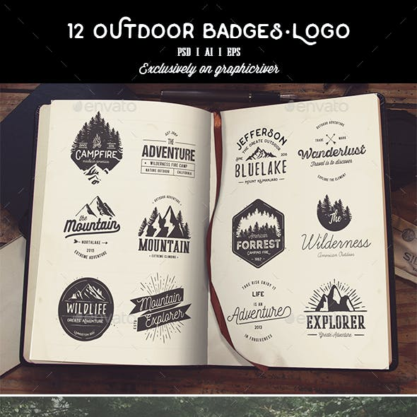 12 Outdoor Badges & Logo