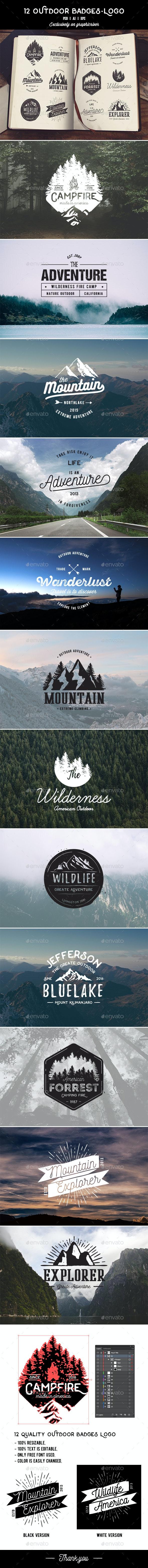 12 Outdoor Badges & Logo - Badges & Stickers Web Elements