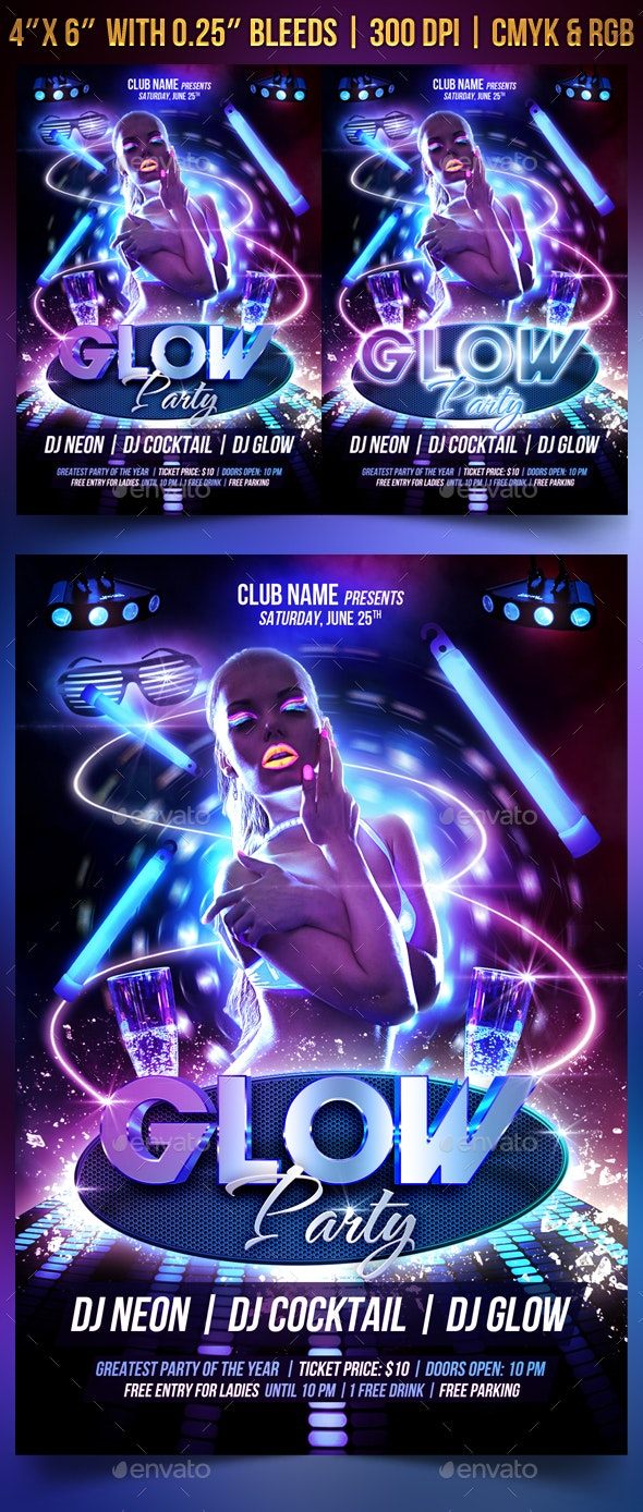 Glow Party Flyer Template - Clubs & Parties Events