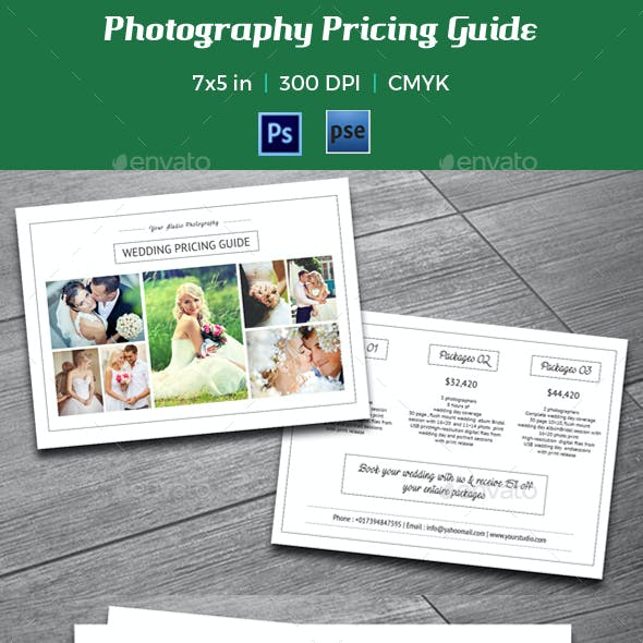 Photography Pricing Guide / Price List -V04