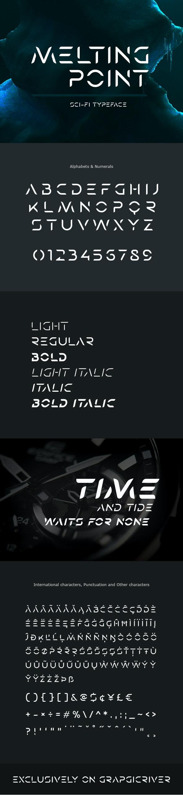 Melting Point Sci-fi Font - Futuristic Decorative