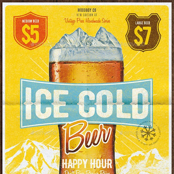 Cold Beer Happy Hour Flyer/Poster