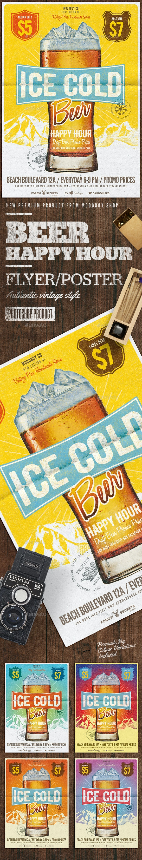Cold Beer Happy Hour Flyer/Poster - Flyers Print Templates