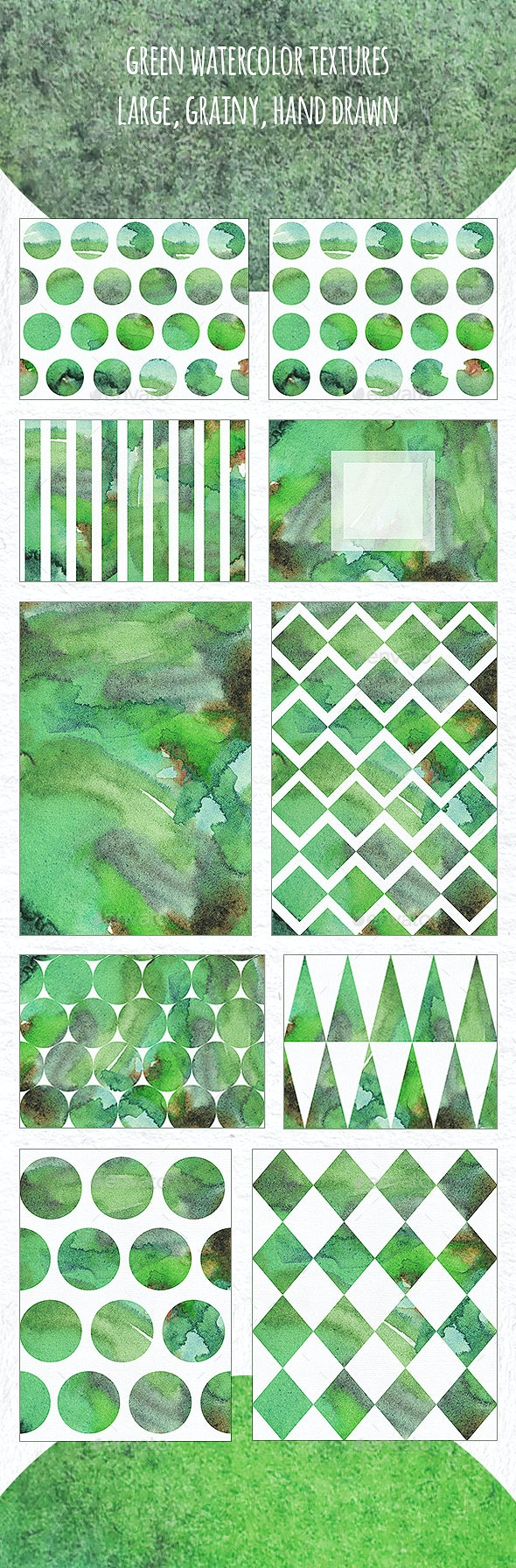 Green Watercolor Textures - Abstract Backgrounds