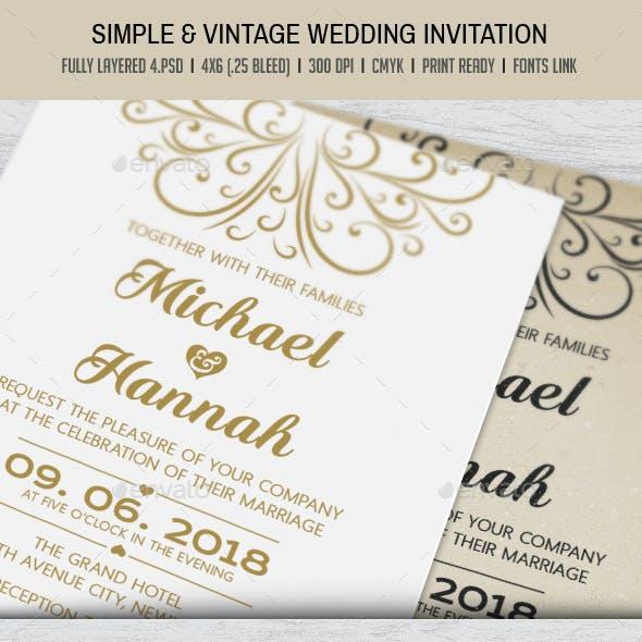 Simple & Vintage Wedding Invitation