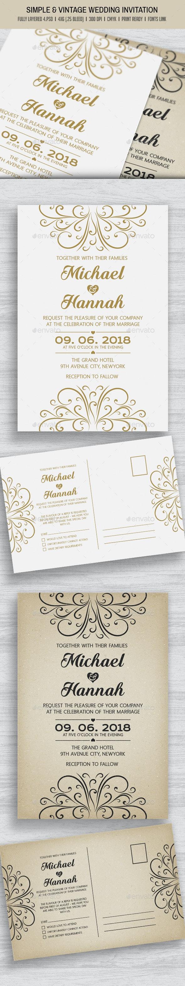 Simple & Vintage Wedding Invitation - Cards & Invites Print Templates