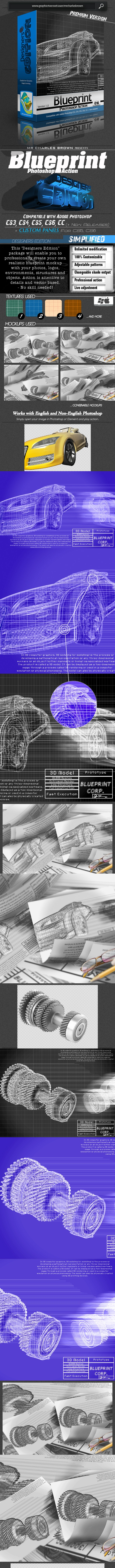 Blueprint Photoshop Action – Designers Edition - Photo Effects Actions